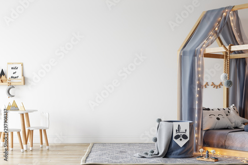 Kids Wall mock up. Kids interior. Scandinavian interior. 3d rendering, 3d illustration - 297908337