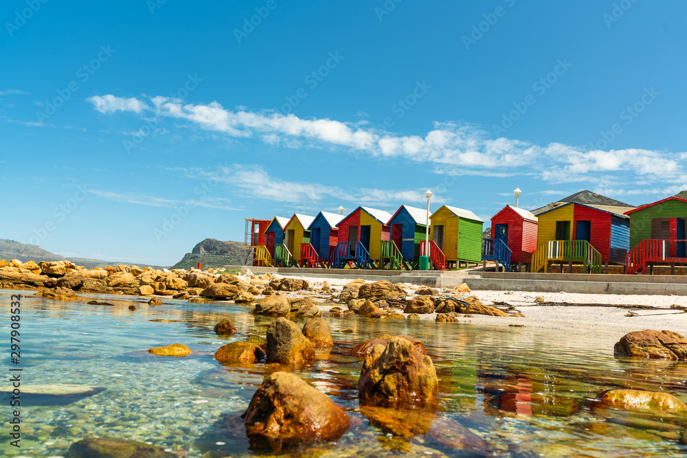 Fototapety, obrazy: colorful cabins on beach at Muizenberg Cape Town