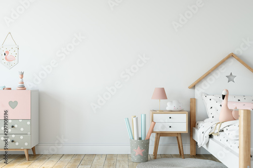 Kids Wall mock up. Kids interior. Scandinavian interior. 3d rendering, 3d illustration - 297908596
