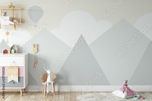 Foto auf AluDibond Rosa dunkel Kids Wall mock up. Kids interior. Scandinavian interior. 3d rendering, 3d illustration