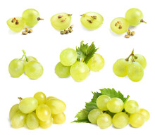 Set Of Fresh Ripe Grapes On Wh...