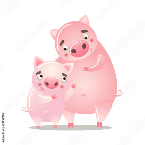 Foto Cute pig is standing with a baby