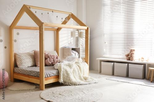 Pinturas sobre lienzo  Cozy child room interior with comfortable bed