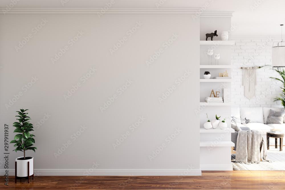 Fototapeta Wall mock up in living room. Scandinavian interior. 3d rendering, 3d illustration