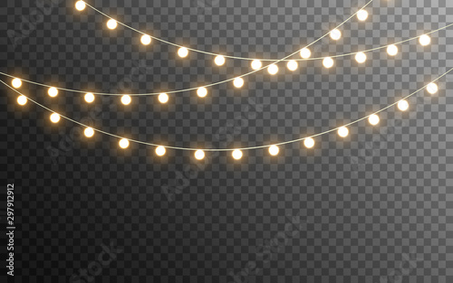 Fototapeta Christmas lights isolated. Glowing garlands on transparent dark background. Realistic luminous elements. Bright light bulbs for poster, card, brochure or web. Vector illustration obraz
