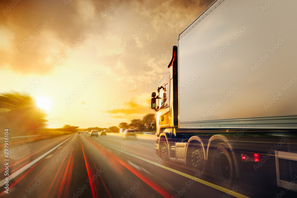 Fototapety, obrazy: Lorry Cargo Transport Delivery in motion, United Kingdom M1 Motorway