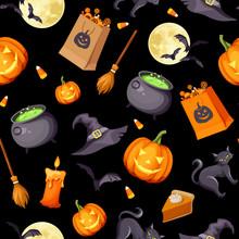 Vector Halloween Seamless Back...