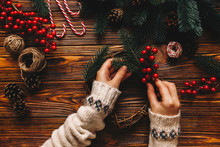 Top View Of Process Preparation For Christmas. Woman Wear In Winter Sweater Making Hanmade Christmas Tradition Whreat. Flat Lay Holding Hands