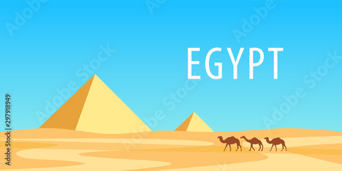 Pyramids of Egypt and camels at sunny day, Vector Cartoon landscape with African Desert for Travel banner or Flyer in horizontal orientation with copy space Wallpaper Mural