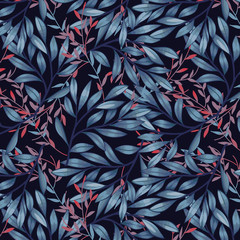 Fototapeta Liście Blue and red leaves on dark background pattern