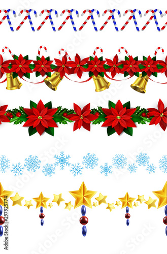 Christmas horizontal seamless set background Wallpaper Mural