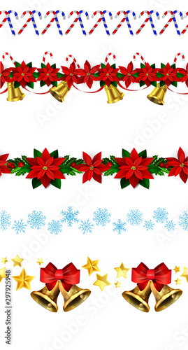 Photo  Christmas horizontal seamless set background