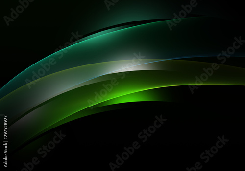 Abstract background waves. Black and green abstract background for business card or wallpaper - 297928927
