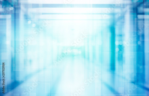 abstract defocused blurred technology space background, empty business corridor or shopping mall Fototapeta