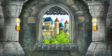 Cartoon Scene Of Medieval Castle Interior With Window With View On Some Other Castle - Illustration For Children