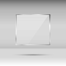 Blank, Transparent Vector Glass Plate. Photo Realistic Texture With Highlights And Glow. Window Mockup.