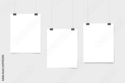 Set of three white realistic blank paper pages with shadow. Page hanging with clips