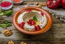 Mutabal Turkish Cuisine On Wooden Table