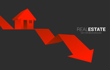 Red 3D Home Icon On Falling Do...