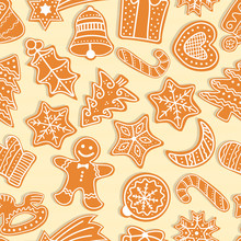 Vector Christmas Seamless Pattern With Gingerbread Cookies. Festive Baking For Winter Holidays. Gingerbread Men And Christmas Tree, Star, Bell, House, Cane, Heart, Ball, Crescent, Present, Mistletoe.