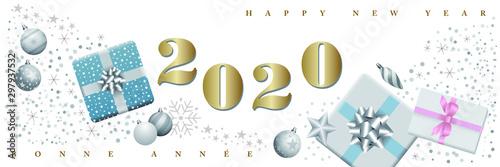 Fotografiet 2020 - carte de voeux allongé vintage illustrée de cadeaux - couleurs pastels sur un fond blanc - texte français anglais - traduction : bonne année