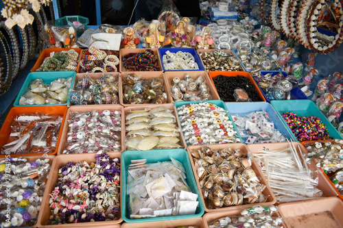 Fototapeta  beautiful hand art products made with sea shell shop at beach of mahabalipuram t