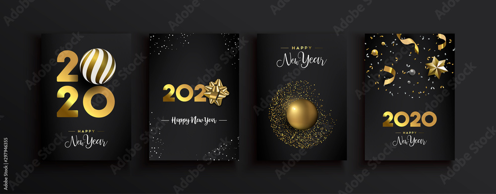 Fototapety, obrazy: Happy New Year 2020 gold 3d elegant card set