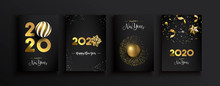 Happy New Year 2020 Gold 3d Elegant Card Set