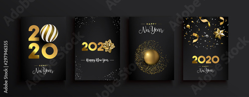 Photo  Happy New Year 2020 gold 3d elegant card set