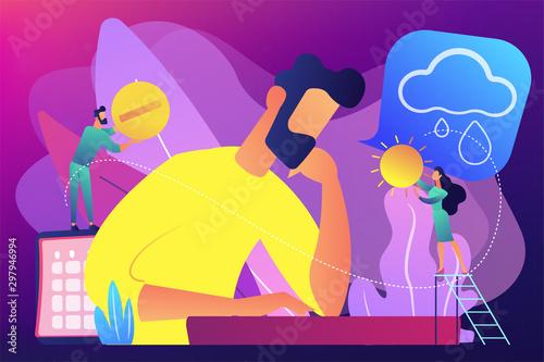 Businessman feeling bad with depressive symptoms, tiny people Wallpaper Mural