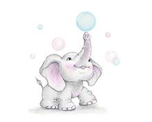 Cute Elephant And Soap Bubbles