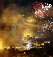 Winter Holiday Destination Budapest Fireworks Over Hungarian Parliament - New Year In The City