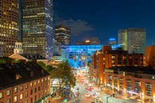 Boston City Hall And Historic Buildings On North Street At Night, Boston, Massachusetts, USA.
