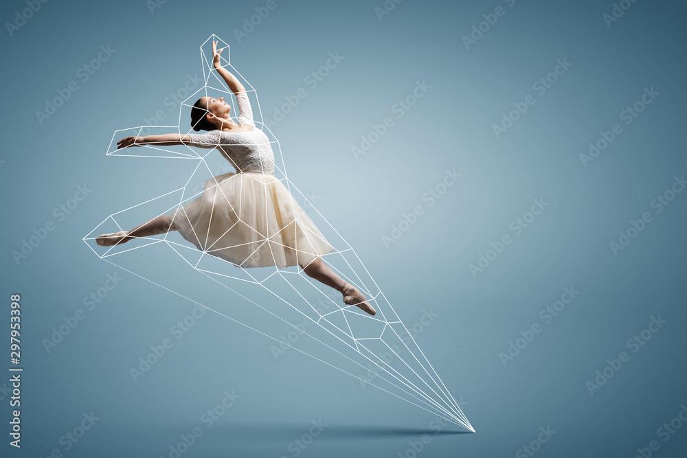 Fototapety, obrazy: Ballerina and digital grid . mixed media