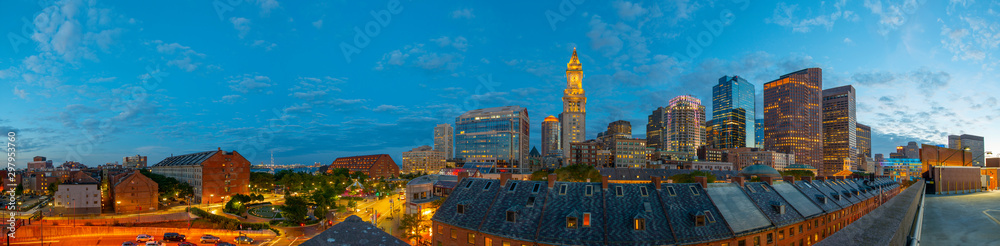 Fototapety, obrazy: Boston Custom House and Financial District skyline panorama at night, Boston, Massachusetts, USA.