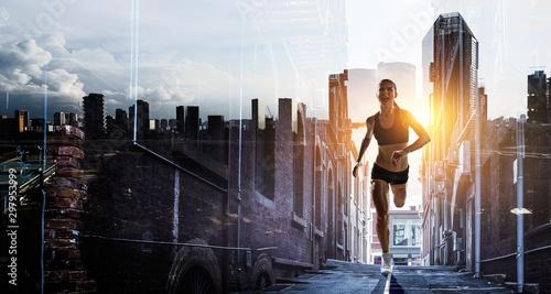 fototapeta na lodówkę Sportswoman run race. Mixed media