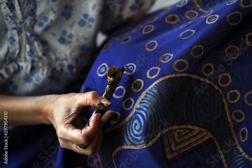 Close-up photos of a process of making written batik Canvas Print