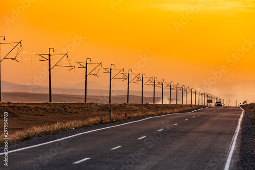 road at sunset near Vardenis landmark of Gegharkunik Armenia eastern Europe