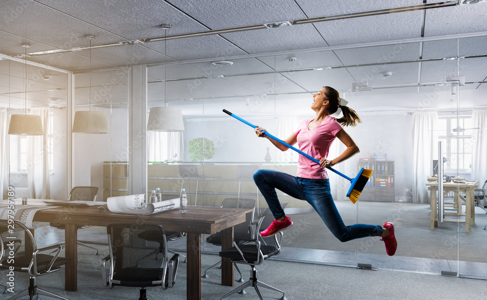 Fototapety, obrazy: Woman doing funny cleaning. Mixed media