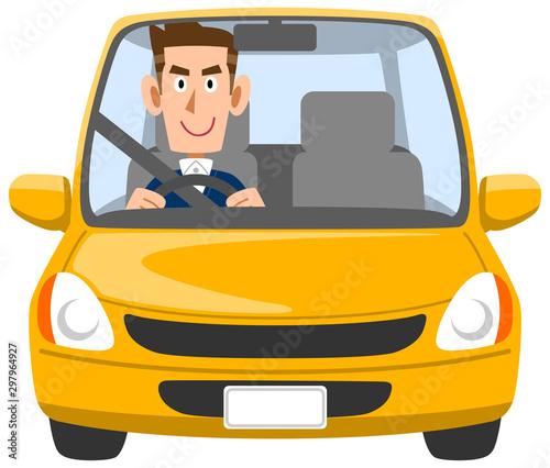自動車を運転する若い男性 Canvas