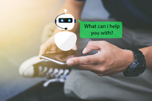 Artificial Intelligence,AI Chat Bot Concept.Close-up Of Man Hands Using Mobile Phone