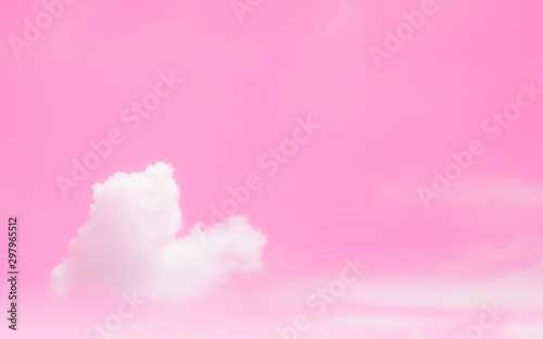 Wall Murals Candy pink pastel pink sky background and beautiful pattern heart shape lovely white clouds