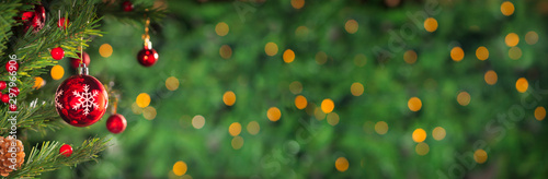 Obraz Christmas holidays banner, tree, bokeh background - fototapety do salonu