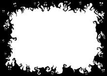 Halloween Bats Frame/ Illustration Fantasy Grotesque Frame With Bats Creatures
