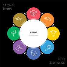 8 Animals Concept Stroke Icons Infographic Design On Black Background