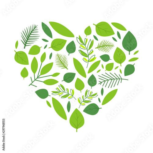 Heart of Green Tree Leaves, Spring Season Element Vector Illustration