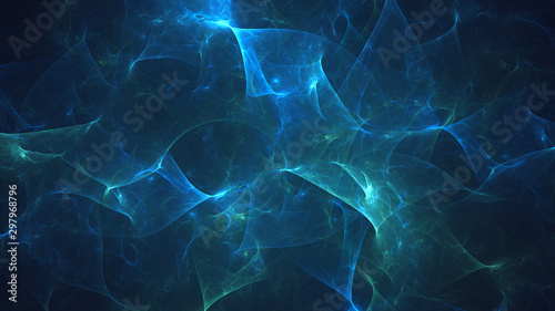 3D rendering abstract blue fractal light background фототапет