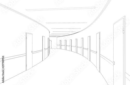 Fototapeta tunel  dlugi-korytarz-z-drzwiami-wizualizacja-konturowa-ilustracja-3d-szkic-kontur