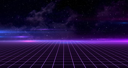 Retro Sci-Fi Background Futuristic Grid landscape of the 80s. Digital Cyber Surface. Suitable for design in the style of the 1980`s. 3D illustration