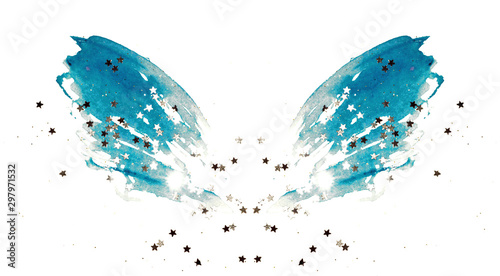 Fotobehang Vlinders in Grunge Silver glittering stars on abstract blue watercolor wings on white background